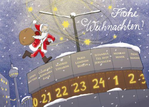 Frohe Weihnachten Berlin.Frohe Weihnachten Berlin Weltzeituhr Actetre Deutschland Gmbh